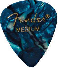 Fender 351 Shape Premium Celluloid Picks, Ocean Turquoise, Medium, 12-Pack