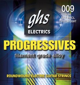 GHS PRCL Progressives Roundwound Custom Light Electric Guitar, 9-46