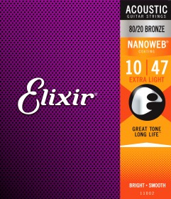Elixir 11002 Nanoweb 80/20 Bronze Extra Light Acoustic, 10-47
