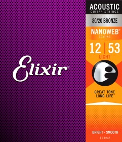 Elixir 11052 Nanoweb 80/20 Bronze Light Acoustic Strings, 12-53