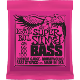 Ernie Ball 2834 Super Slinky Roundwound Bass Strings, 45-100