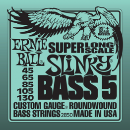 Ernie Ball 2850 5-string Slinky Bass Strings Super Long Scale, 45-130