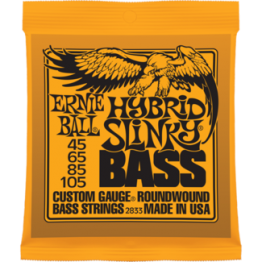 Ernie Ball 2833 Hybrid Slinky Roundwound Bass Strings, 45-105