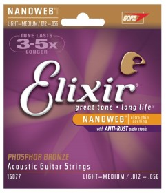 Elixir Strings 16077 Nanoweb Phosphor Bronze Medium Light Acoustic Strings (12-56)