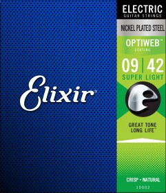 Elixir 19002 Optiweb Coated Nickel Plated Steel Electric, 9-42