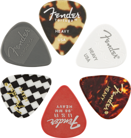 Fender 351 Shape Material Medley Guitar Picks, Heavy, 6-Pack