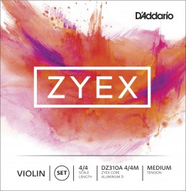 D'Addario DZ310A 4/4M Zyex Violin String Set, 4/4 Scale, Medium