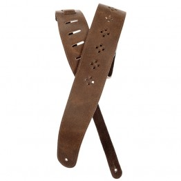 Planet Waves 25PRF02 Vented Leather Guitar Strap, Brown Diamonds