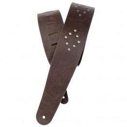 Planet Waves Blasted Leather Guitar Strap, Brown with Brass Rivets