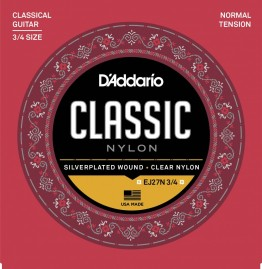 D'Addario EJ27N 3/4 Student Nylon Fractional, Normal Tension