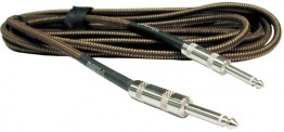 Hosa Cloth Woven Guitar Cable in Classic Tweed. Straight to Straight Quarter inch plugs, 18 ft.