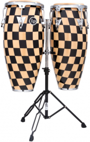 "LP Aspire® Accent Congas 10"" & 11"" Set with Double Stand, Checkerboard/Chrome"