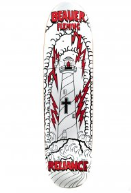 Reliance Skateboards Beaver Fleming Lighthouse Skateboard Deck, Shaped  Red