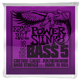 Ernie Ball 2821 Power Slinky 5-String Bass Strings, 50-135