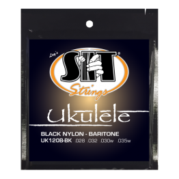SIT Strings UK120B-BK Baritone Ukulele, Black Nylon