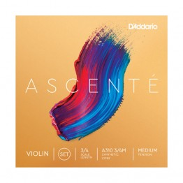 D'Addario Ascenté Violin String Set, 3/4 Scale, Medium Tension