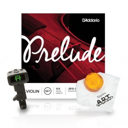 D'Addario BO-TIN16 Prelude Violin Strings and Accessories Bundle