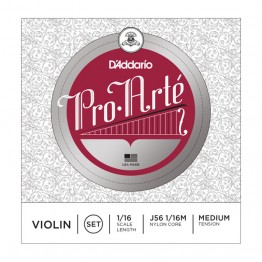 D'Addario J56 1/16M Pro-Arte Violin String Set, 1/16 Scale, Medium
