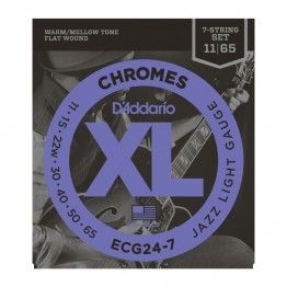 D'Addario ECG24-7 Chromes Flat Wound, 7-String, Jazz Light, 11-65