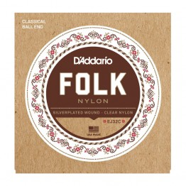 D'Addario EJ32C Folk Nylon Ball End Silver Wound/Clear Nylon Trebles