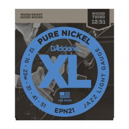 D'Addario EPN21 Nickel Jazz Lite Electric Guitar Strings, 12-51