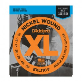 D'Addario EXL110-7 Nickel Wound Light 7-String Electric, 10-59