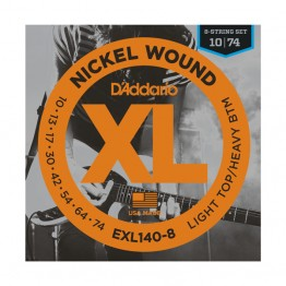 D'Addario EXL140-8 8-String Nickel Wound Light Top/Hvy Bottom, 10-74