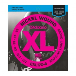 D'Addario EXL170-6 Nickel Wound 6-String Bass, Lt, 32-130, Long