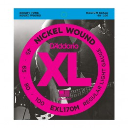 D'Addario EXL170M Nickel Wound Bass, Light, 45-100, Medium Scale