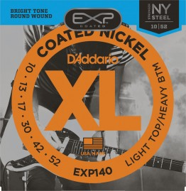 D'Addario EXP140 Coated Nickel Wound, Light Top/Heavy Bottom, 10-52