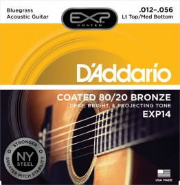 D'Addario EXP14 Coated 80/20, Lt Top/Med Bottom/Bluegrass 12-56