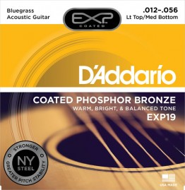 D'Addario EXP19 Coated Phosphor Bronze, Lt Top/Med Bot/Bluegrass