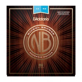 D'Addario NB1252BT Nickel Bronze Set, Balanced Tension Light, 12-52