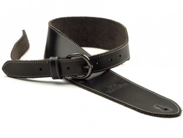 San Leandro Strap LB-121 Deluxe Leather Guitar Strap, Black