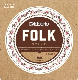 D'Addario EJ32 Folk Nylon, Ball End, Silver Wound/Black Nylon Trebles