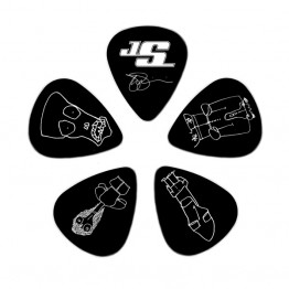 D'Addario 1CBK4-10JS Joe Satriani Guitar Picks, Black, 10 Pack, Med