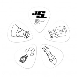 D'Addario 1CWH2-10JS Joe Satriani Picks, White, 10 pack, Light