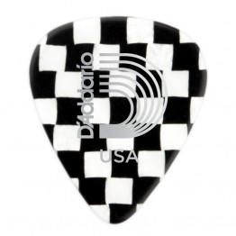 D'Addario 1CCB2-10 Checkerboard Celluloid Picks, 10 pk, Light