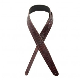 "D'Addario L25W1404 2.5"" Leather Strap, Embossed Weave, Brown"