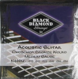 Black Diamond N600M Medium Phosphor Bronze Acoustic Guitar, 13-56