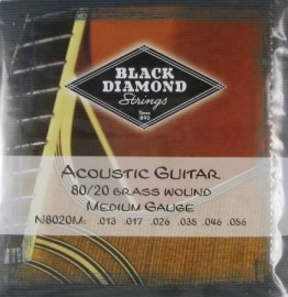 Black Diamond 80/20 Bronze, Brass Wound Acoustic Guitar, 13-56