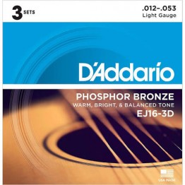 D'Addario EJ16-3D Phosphor Bronze Light Acoustic, 12-53, 3 Sets