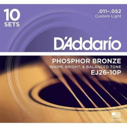 D'Addario EJ26-10P Phosphor Bronze, Custom Light, 11-52, 10 Sets