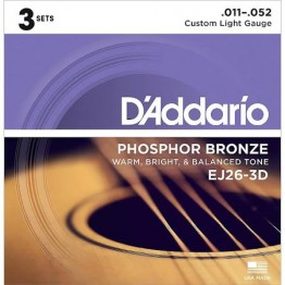 D'Addario EJ26-3D Phosphor Bronze, Custom Light, 11-52, 3 Set