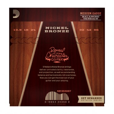 D'Addario  NB13556BT Nickel Bronze, Balanced Tension Medium, 13.5-56